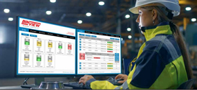 Woman in hard hat using BinView software