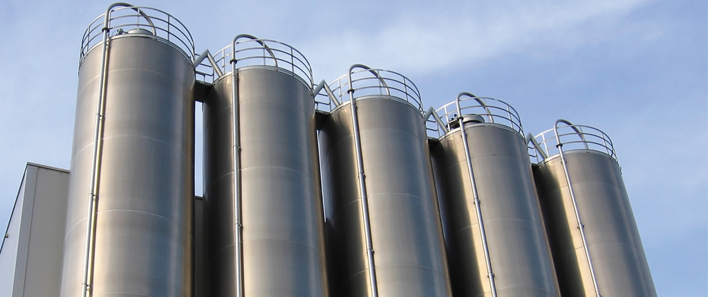 Large silos in a row
